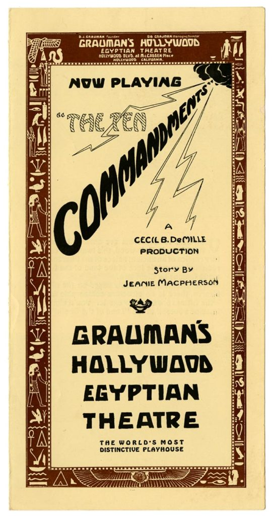 [Program cover], Grauman's Hollywood Egyptian Theatre, Los Angeles, courtesy, California Historical Society