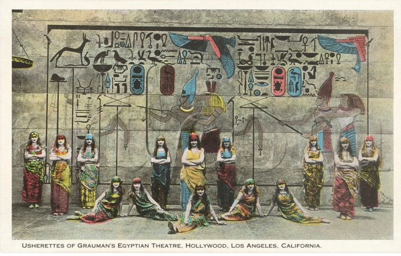 Egyptian Theatre Usherettes tinted postcard, date unknown