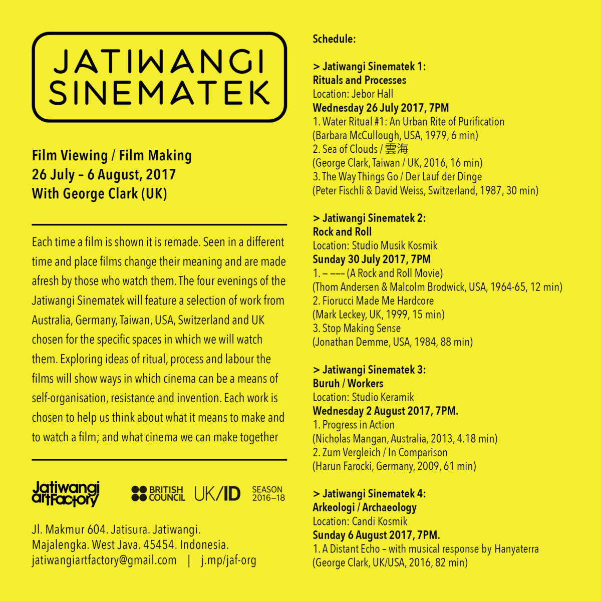 Jatiwangi Sinematek, 26 July – 6 August 2017