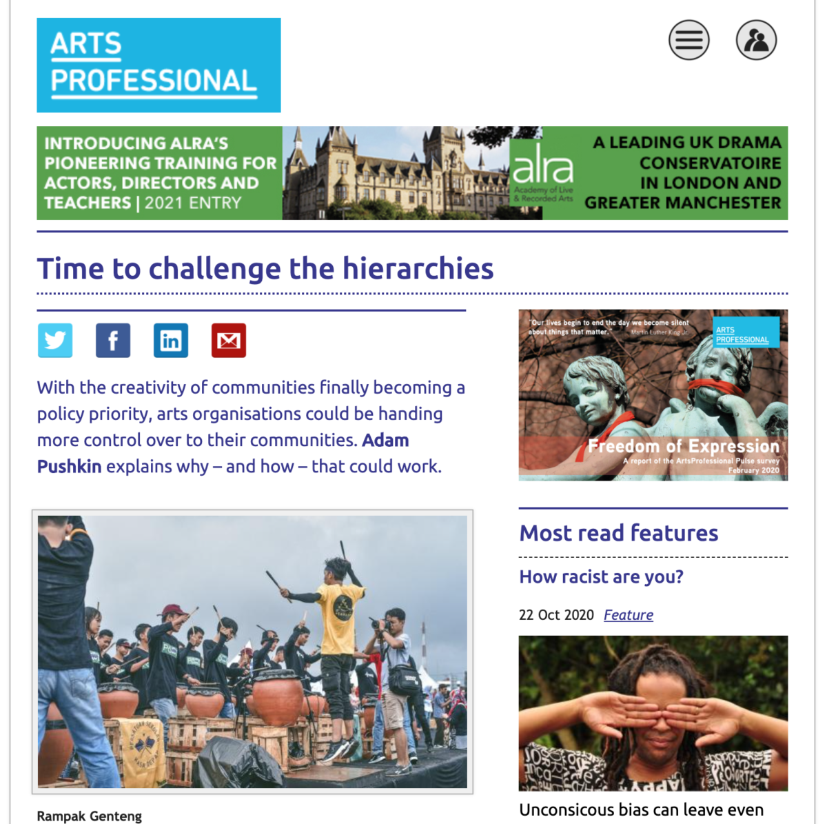 Time to change the hierarchies, Arts Professional article, Sept 2020